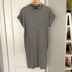 NWOT Striped Midi Dress with High Neck